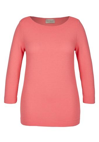 VIA APPIA Unifarbenes Sweatshirt 3/4 - Ärmel und U - Boot - Ausschnitt Plus Size kaufen