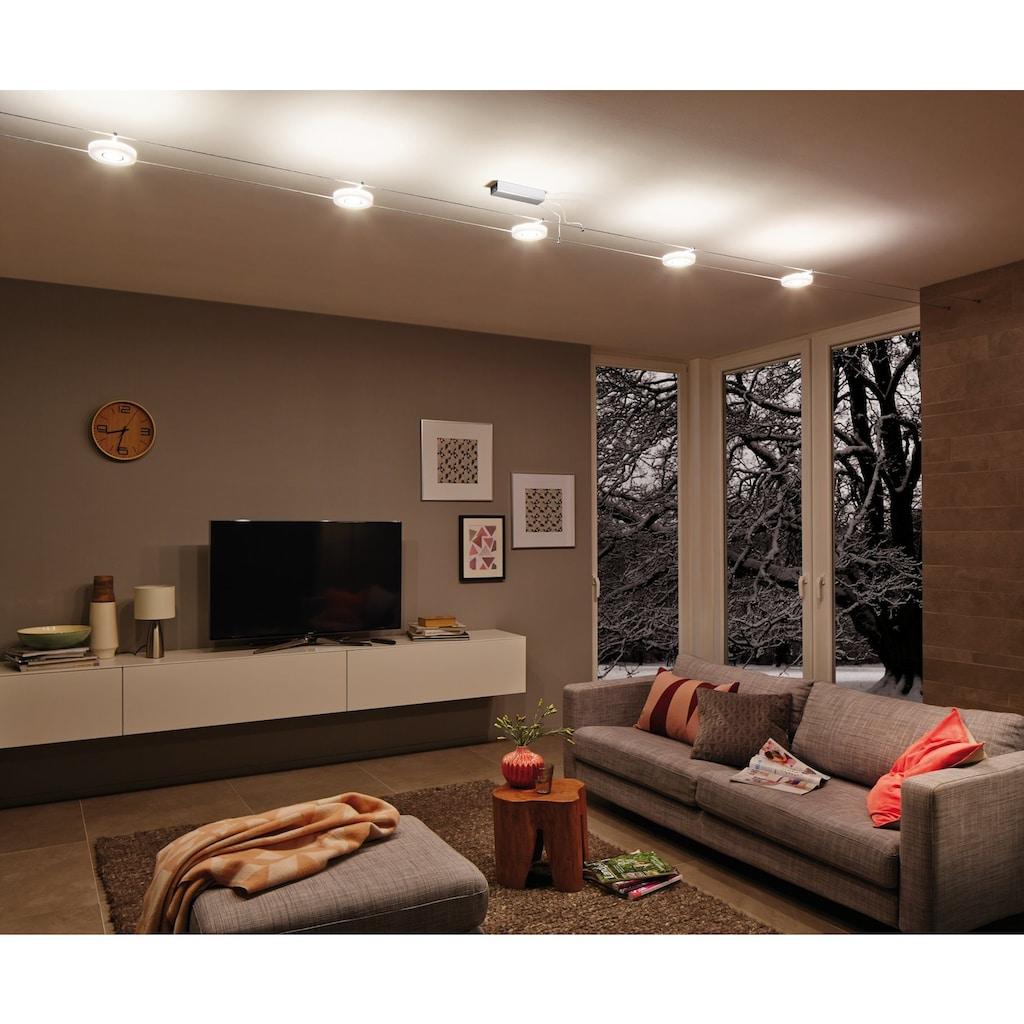 Paulmann LED Deckenleuchte »Wohnzimmerlampe LED 5x4W DiscLED I 230V/12V DC Chrom/Satin«, 1 St., Warmweiß