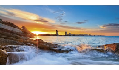 Home affaire Glasbild »Palo ok: Sonnenuntergangszeit am Hua-Hin Strand in Thailand«, 100/50 cm kaufen