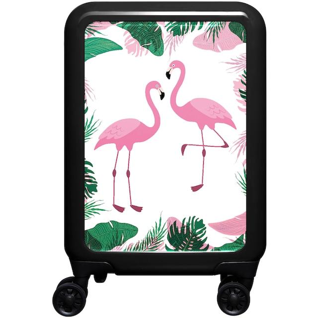 "meinTrolley Hartschalen-Trolley ""Flamingo, 77 cm"", 4 Rollen"