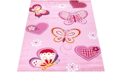 Paco Home Kinderteppich »Diamond 642«, rechteckig, 18 mm Höhe, Kurzflor, 3D-Kinder Schmetterling Herzen Design kaufen