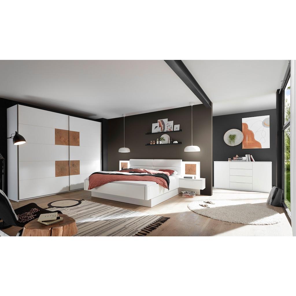 Schlafkontor Bettanlage »Capri«, mit 2 Nachttischen und integrierter LED-Beleuchtung