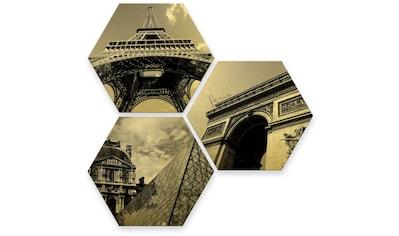 Wall-Art Mehrteilige Bilder »Goldeffekt Paris Collage Stadt«, (Set, 3 St.) kaufen