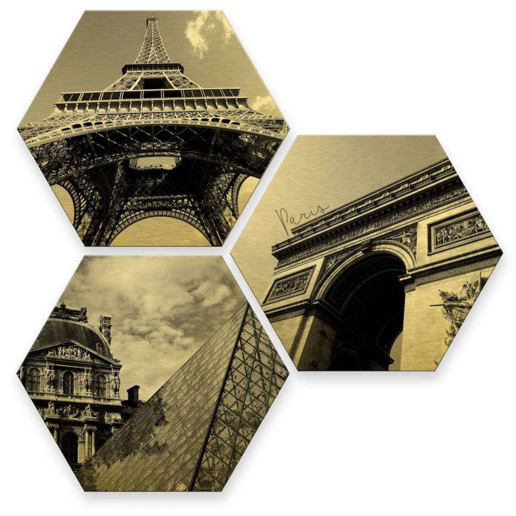 Wall-Art Mehrteilige Bilder »Goldeffekt Paris Collage Stadt«, (Set, 3 St.)