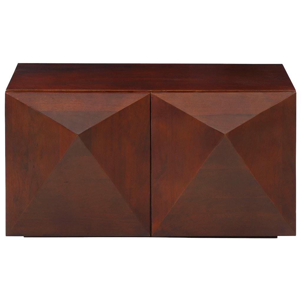 Home affaire Couchtisch »Diamond«, aus massivem Mangoholz mit 3D-Optik auf den Außenseiten, Breite 90 cm