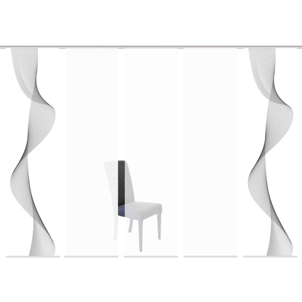 HOME WOHNIDEEN Schiebegardine »COLIBA 5er SET«, Dekostoff-Seidenoptik, Digital bedruckt