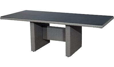 PLOSS Gartentisch »Vigo«, Polyrattan/Aluminium/Glas, 220x100 cm kaufen