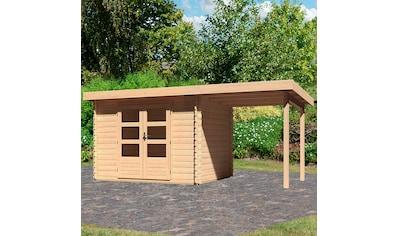 WOODFEELING Set: Gartenhaus »Bastrup 3«, BxT: 515x273 cm, mit Anbaudach kaufen