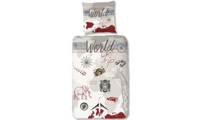 good morning Kinderbettwäsche »World Trip«, mit Schriftzug kaufen