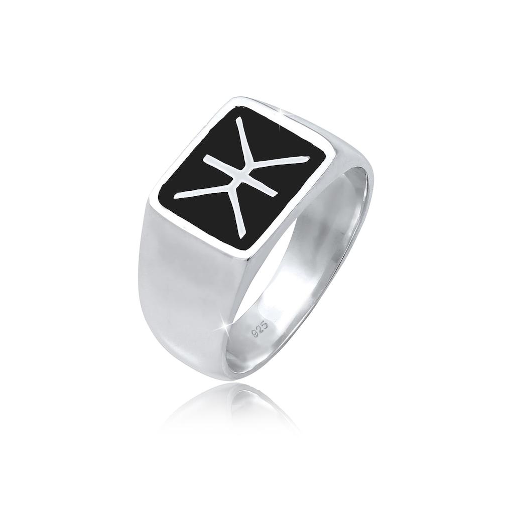 Kuzzoi Siegelring »Herren Siegelring Emaille Logo Basic 925 Silber«