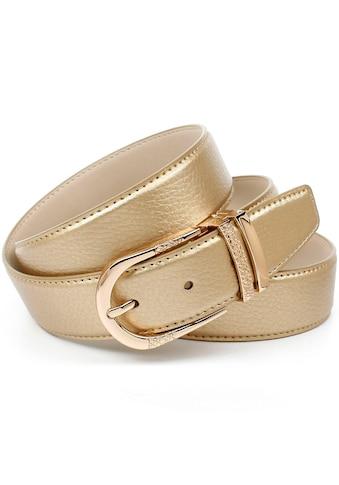 Anthoni Crown Ledergürtel, mit Fashion-Dornschließe, doppelte Metallschlaufe kaufen