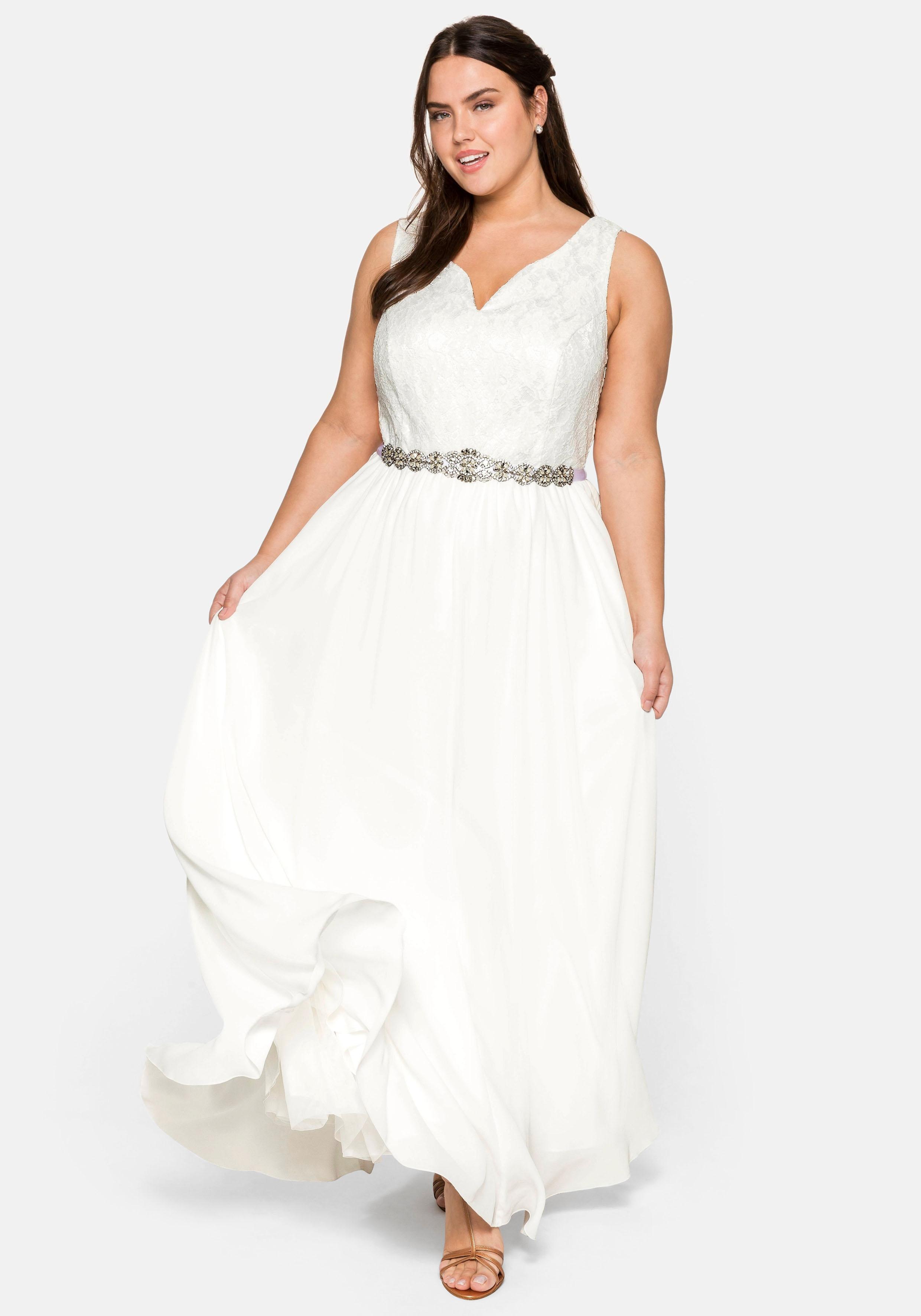 Sheego Abendkleid weiß Damen Abendkleider Kleider