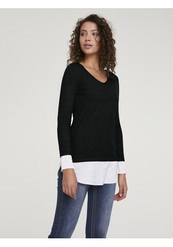 Pullover mit Bluseneinsatz aus Satin kaufen
