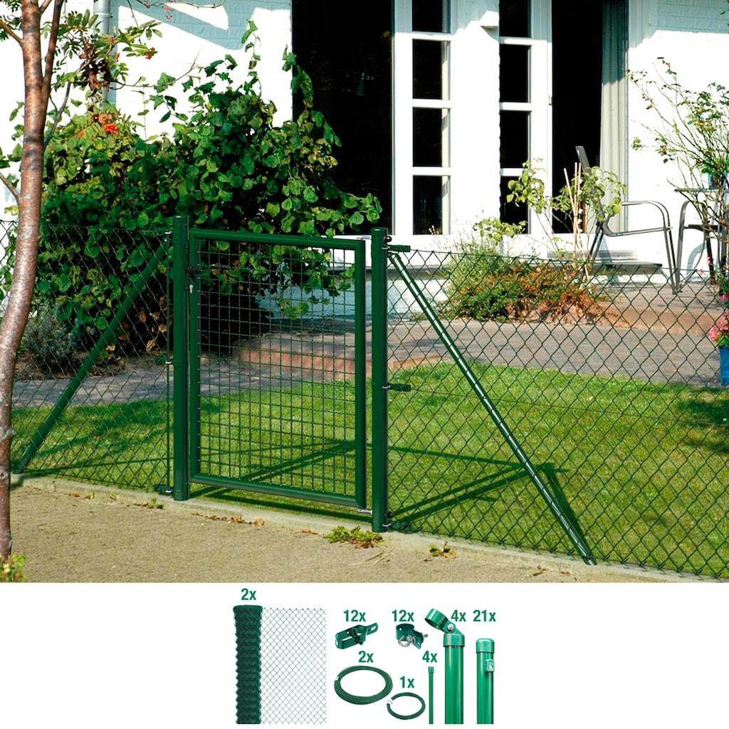 GAH Alberts Maschendrahtzaun, 175 cm hoch, 50 m, grün beschichtet, zum Einbetonieren