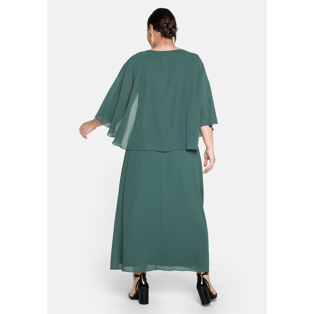 Sheego Abendkleid, bodenlang, mit asymmetrischem Chiffon-Cape