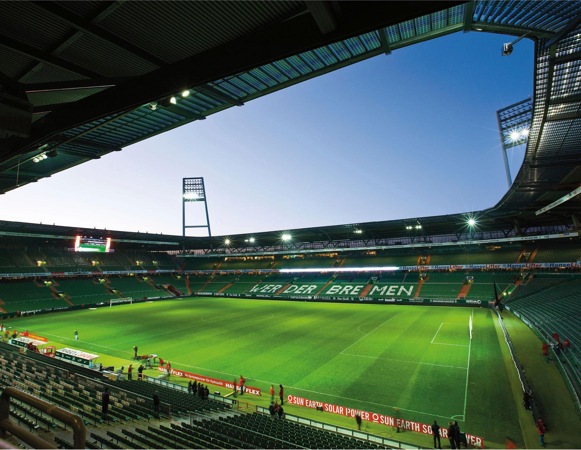 Fototapete Werder Bremen - Weserstadion Innen bunt Fototapeten Tapeten Bauen Renovieren