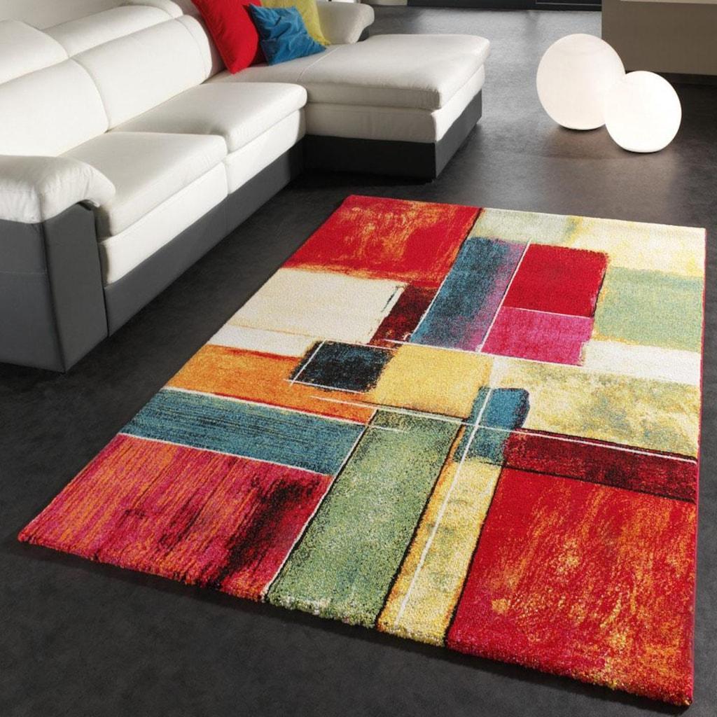 Paco Home Teppich »Canvas 783«, rechteckig, 16 mm Höhe, Kurzflor mit buntem Karo Design, Wohnzimmer