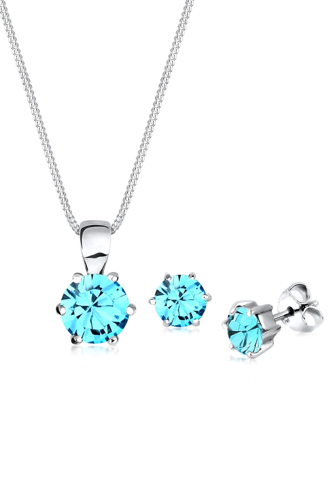 Elli Schmuckset Basic Swarovski Kristalle Silber | Schmuck > Schmucksets | Blau | Elli