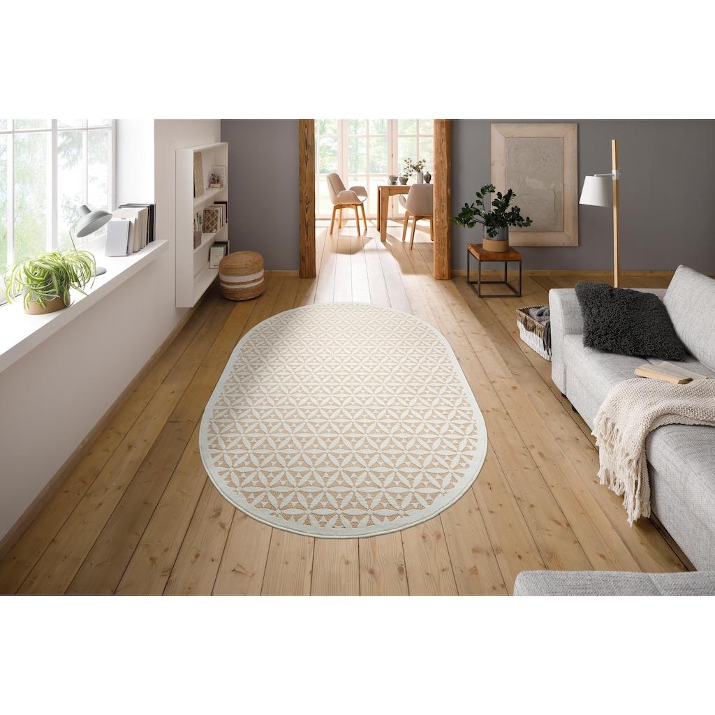 my home Teppich »Idir«, oval, 7 mm Höhe, Jaquardteppich, Wohnzimmer