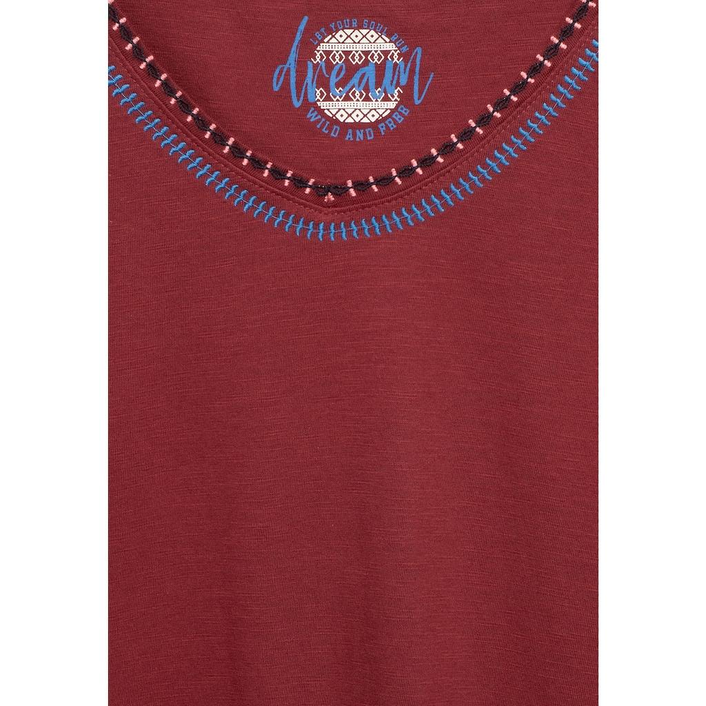 Cecil T-Shirt, mit Strick-Kante am Ausschnitt