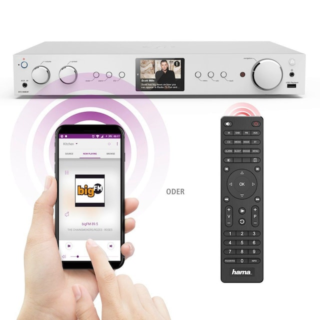 Hama Digitaltuner, DAB+ Digitalradio/Internetradio/Bluetooth/USB »Aux/DIT2100MSBT«