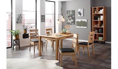 Home affaire Essgruppe »Soeren 2«, (Set, 5 tlg., Tisch 140/90 cm, 4 Stühle, Polstersitz), aus Massivholz kaufen