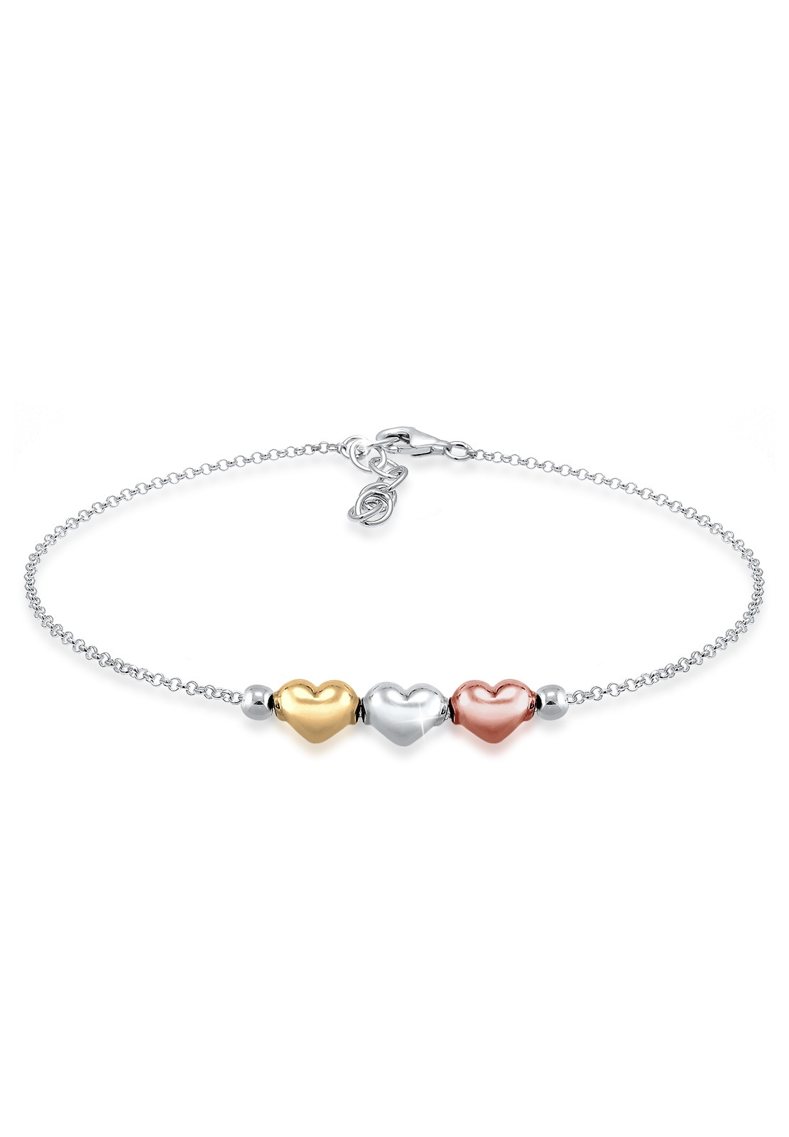 Elli Armband Herz Liebe Tri-Color 925 Sterling Silber | Schmuck > Armbänder > Silberarmbänder | Elli
