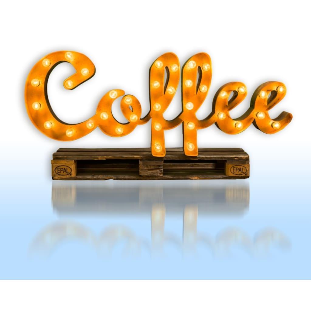 MARQUEE LIGHTS LED Dekolicht »Coffee Schriftzug«, E14, 1 St., Warmweiß, Wandlampe, Tischlampe Coffee, 145cm Breit und 61cm hoch