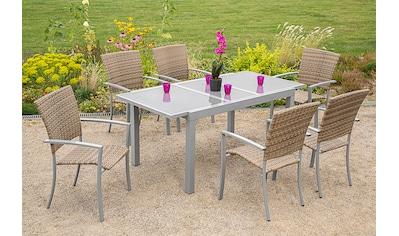 MERXX Gartenmöbelset »Savonna«, 7 - tlg., 6 Sessel, Tisch 200x90 cm, Alu/Polyrattan kaufen