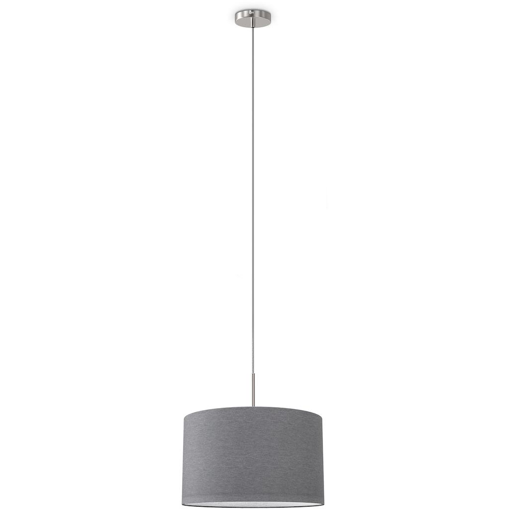 B.K.Licht LED Pendelleuchte, E27, Hängeleuchte, LED Hängelampe Stoff Textil Lampenschirm Deckenlampe Esstisch Wohnzimmer E27 grau