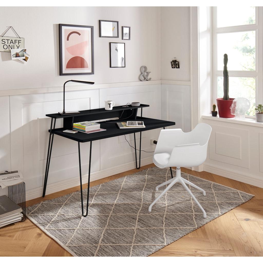 my home Schreibtisch »Lennox«, mit besonderen Funktion des Wireless Charger, praktische Kabeldurchführung, Metallgestell, Breite 115 cm