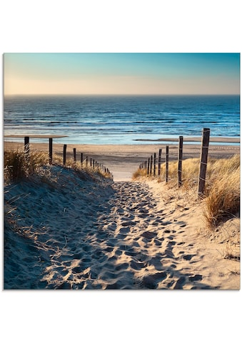 Artland Glasbild »Weg zum Nordseestrand Sonnenuntergang«, Strand, (1 St.) kaufen