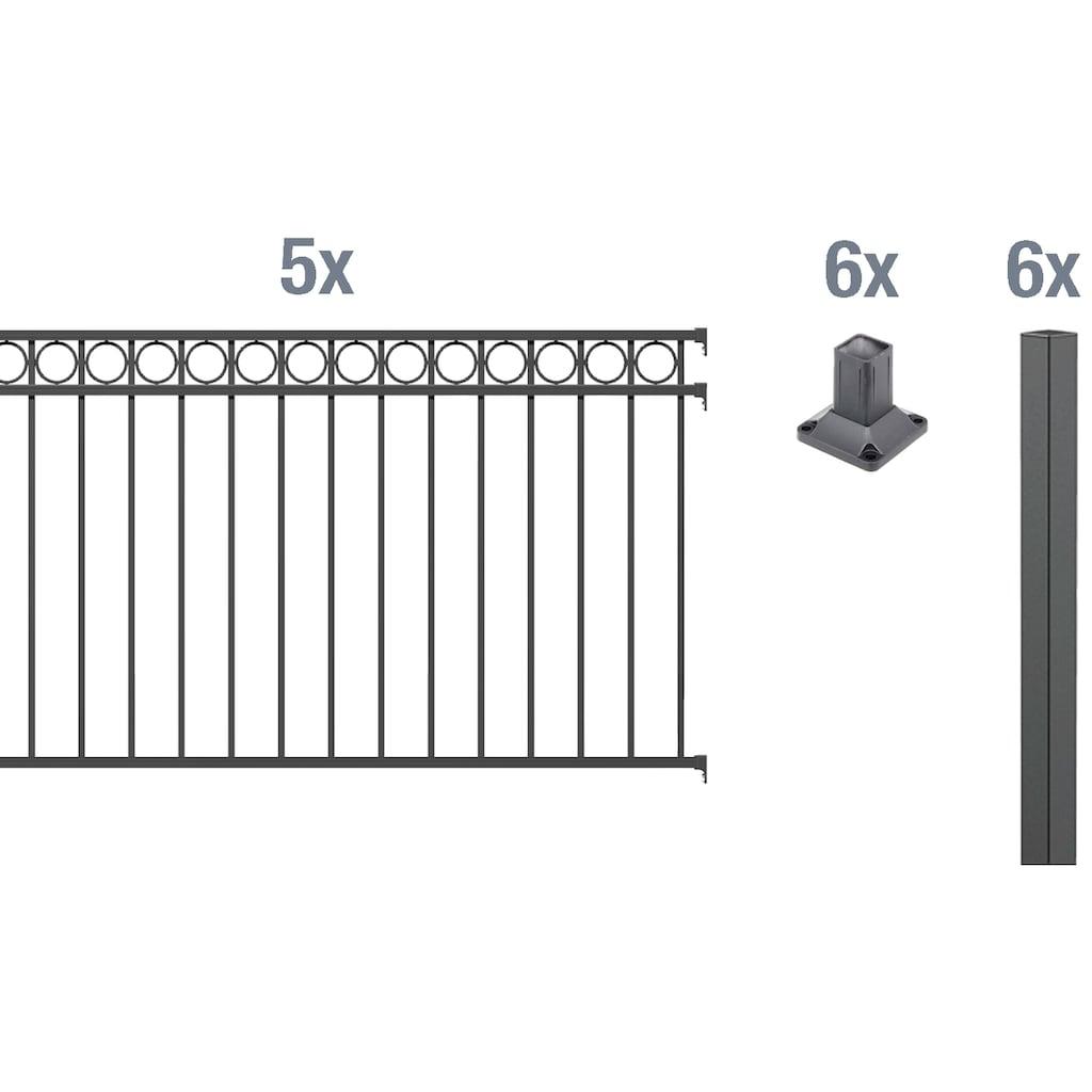 GAH Alberts Metallzaun »Circle«, 100 cm hoch, 5 Matten für 10 m, 6 Pfosten zum Aufschrauben