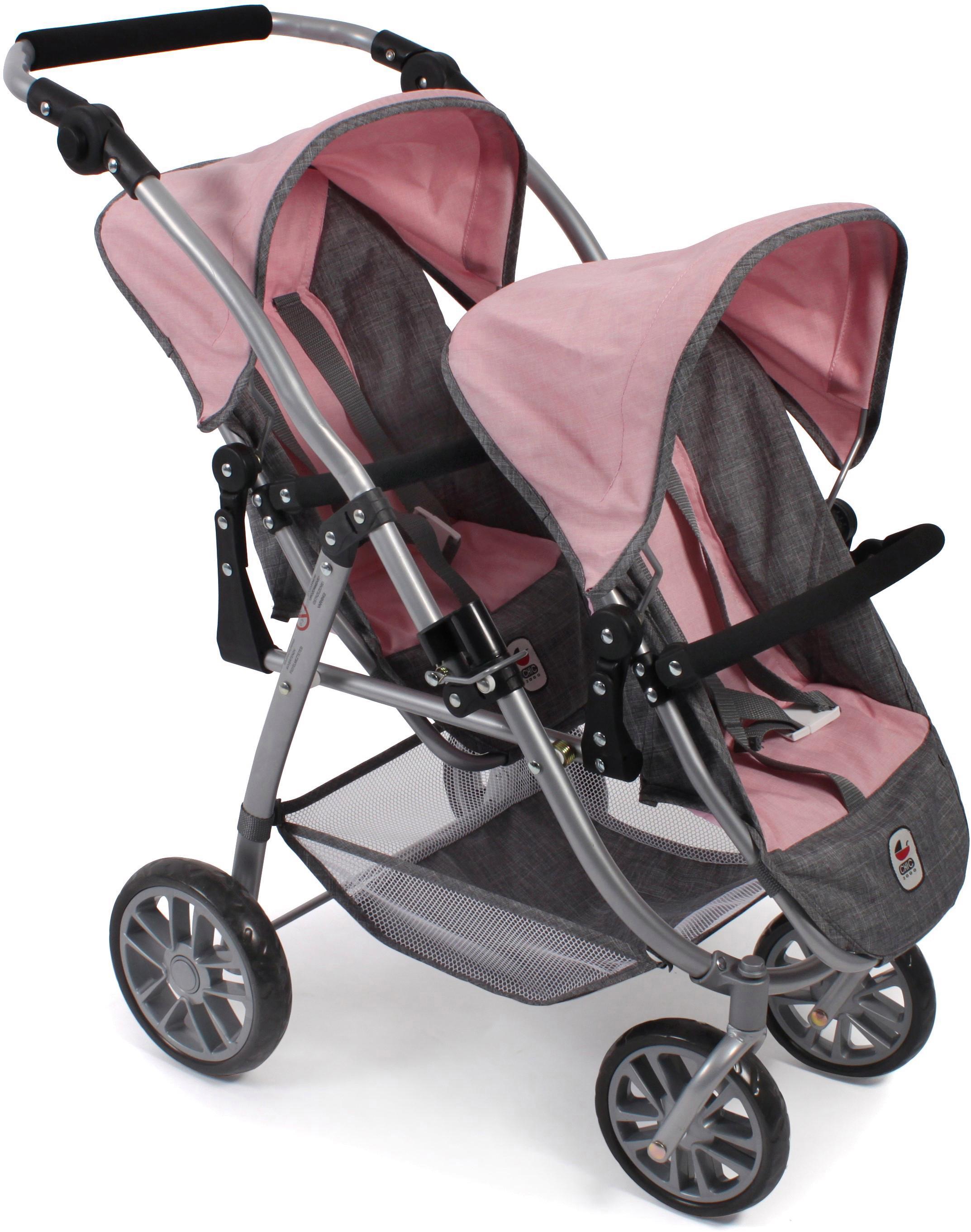 CHIC2000 Puppen-Zwillingsbuggy Tandem-Puppen-Buggy Vario, grau-rosa rosa Kinder Puppenwagen -trage Puppen