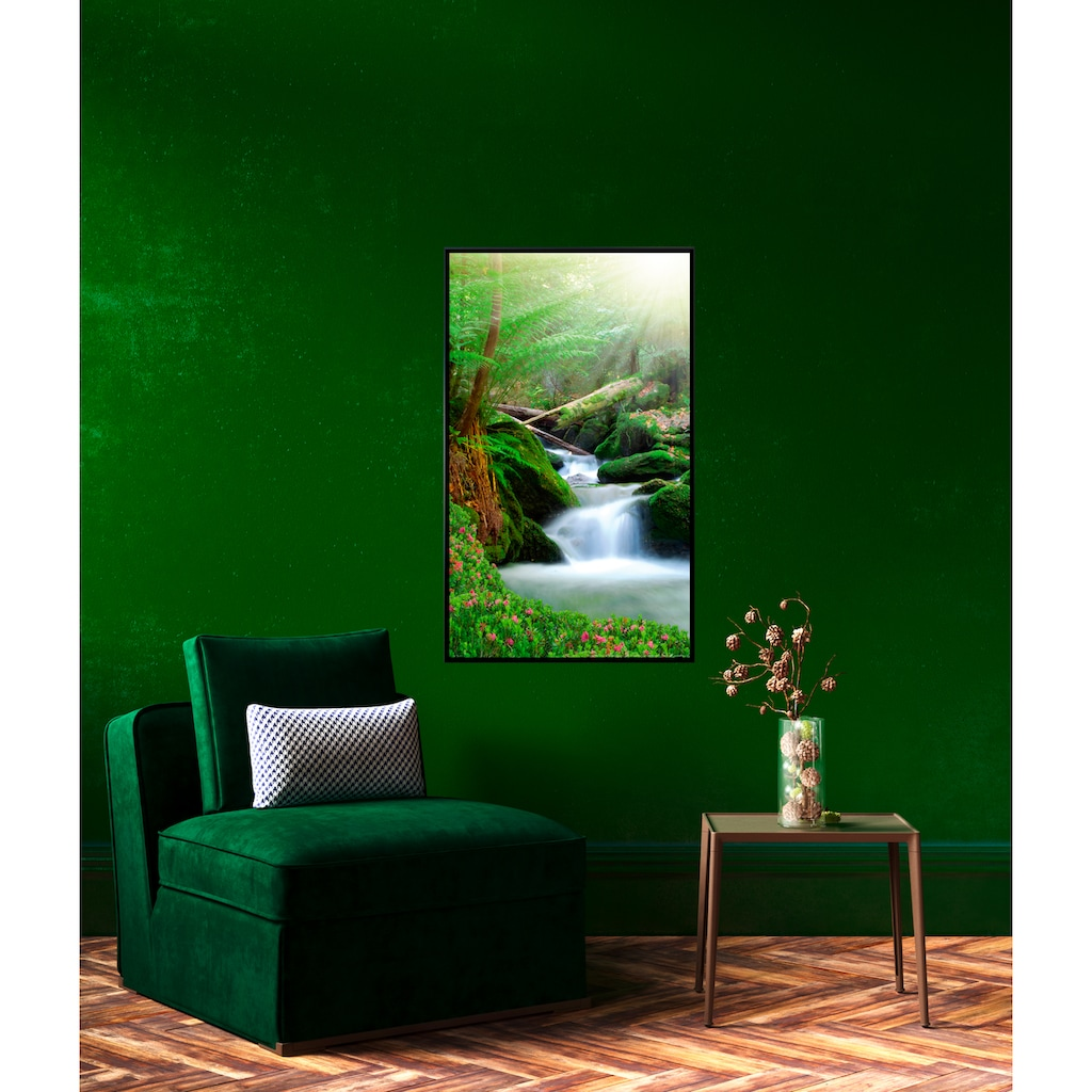 Papermoon Infrarotheizung »EcoHeat - Wasserfall«, Aluminium, 750 W, 60 x 120 cm, mit Rahmen