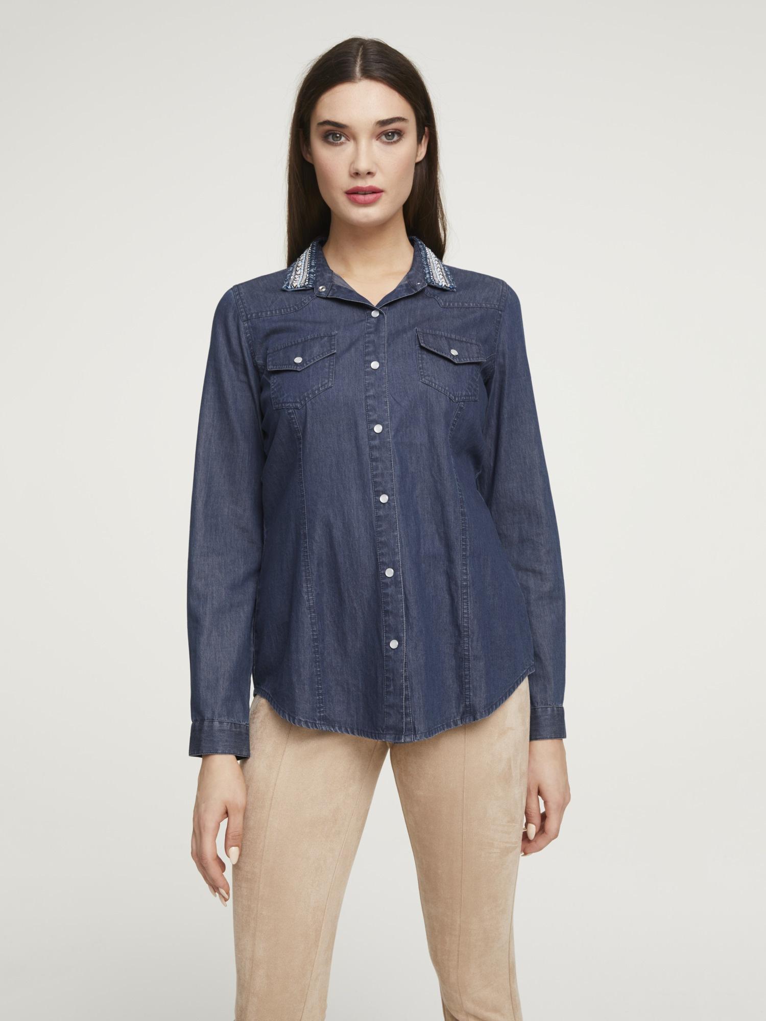 heine CASUAL Jeansbluse mit besticktem Kragen