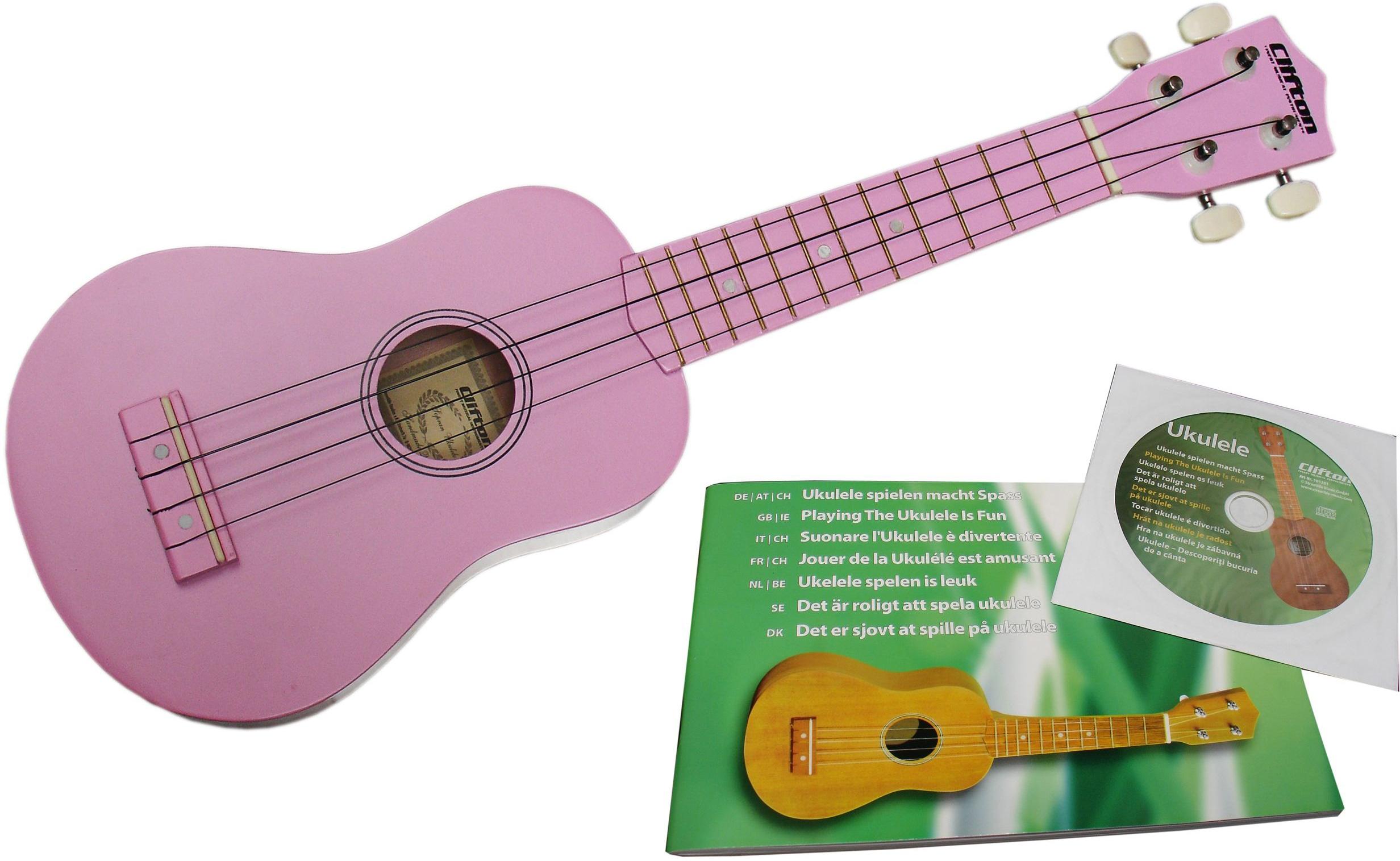 Clifton Sopran Ukulele mit Buch und CD, rosa