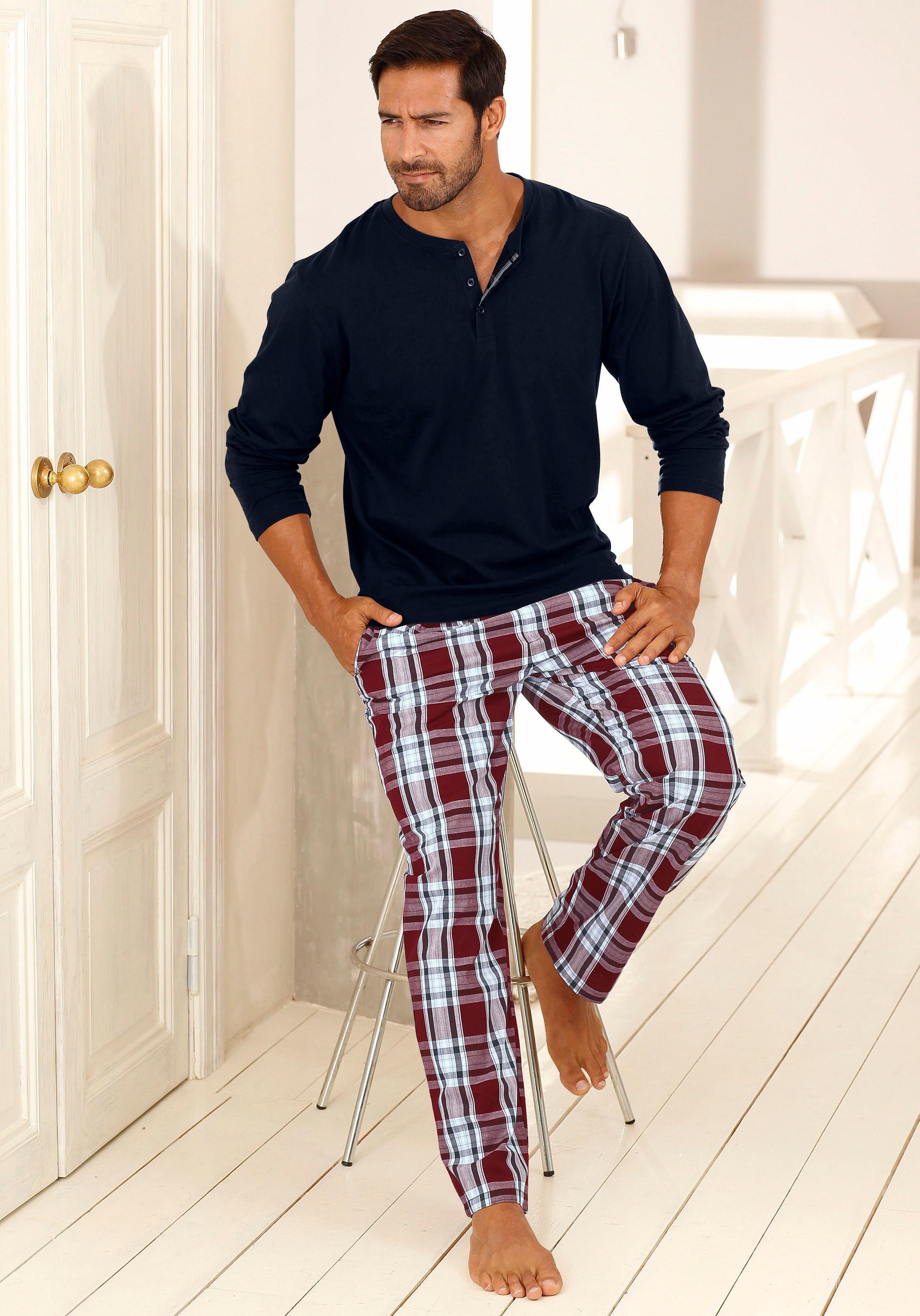 H.I.S Pyjama, lang   Bekleidung > Wäsche > Nachtwäsche   Blau   H.I.S