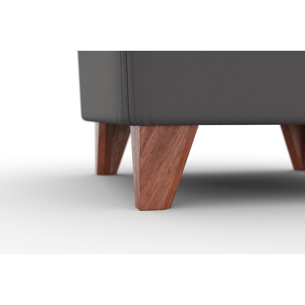 machalke® Hocker »amadeo«, Lederhocker mit wengefarbenen Beinen