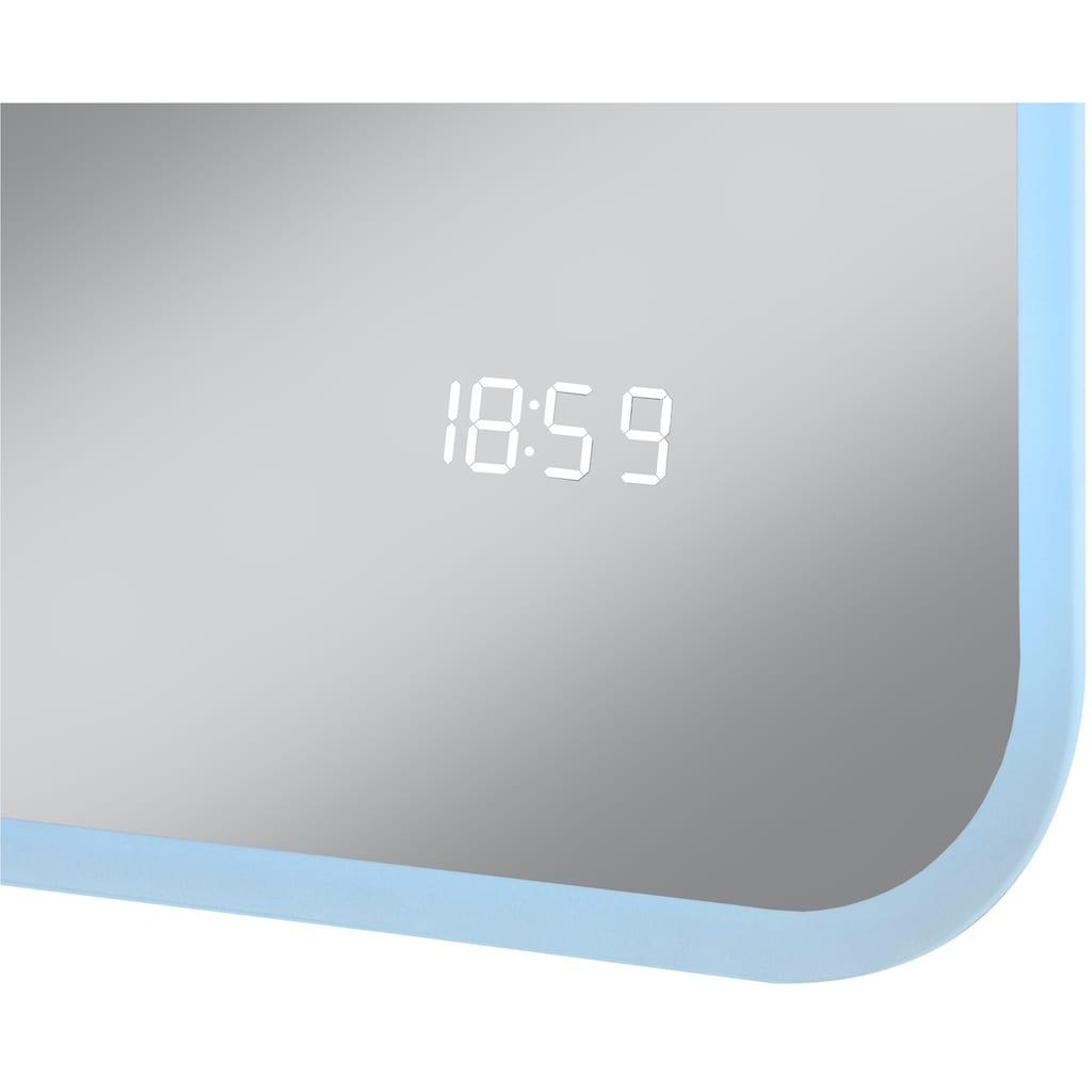 WELLTIME LED-Lichtspiegel »Santiago«, 80 x 60 cm, LED-Beleuchtung, Uhr