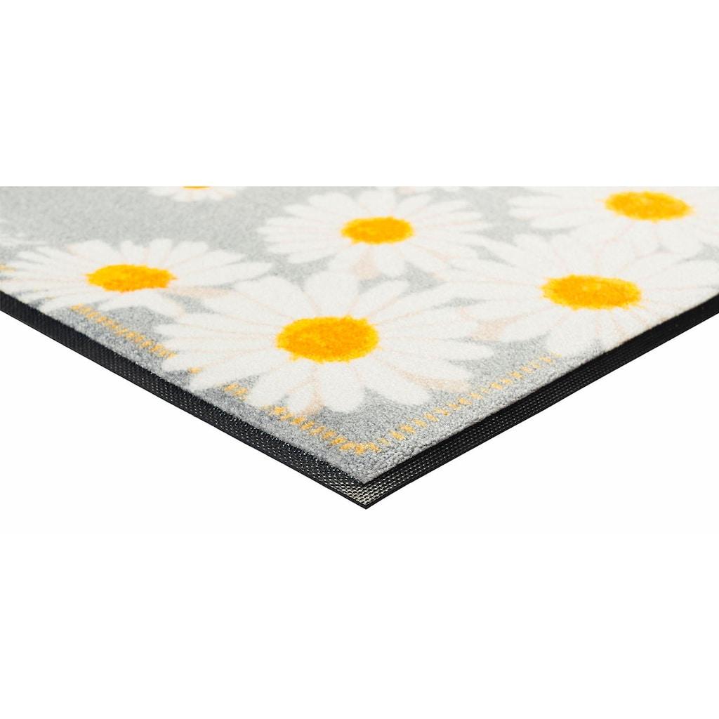 wash+dry by Kleen-Tex Fußmatte »Glücklich«, rechteckig, 9 mm Höhe, Schmutzfangmatte, mit Spruch, In- und Outdoor geeignet