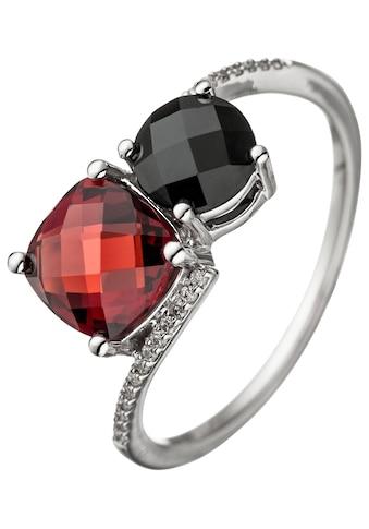 JOBO Diamantring, 585 Weißgold mit 24 Diamanten Granat Onyx kaufen