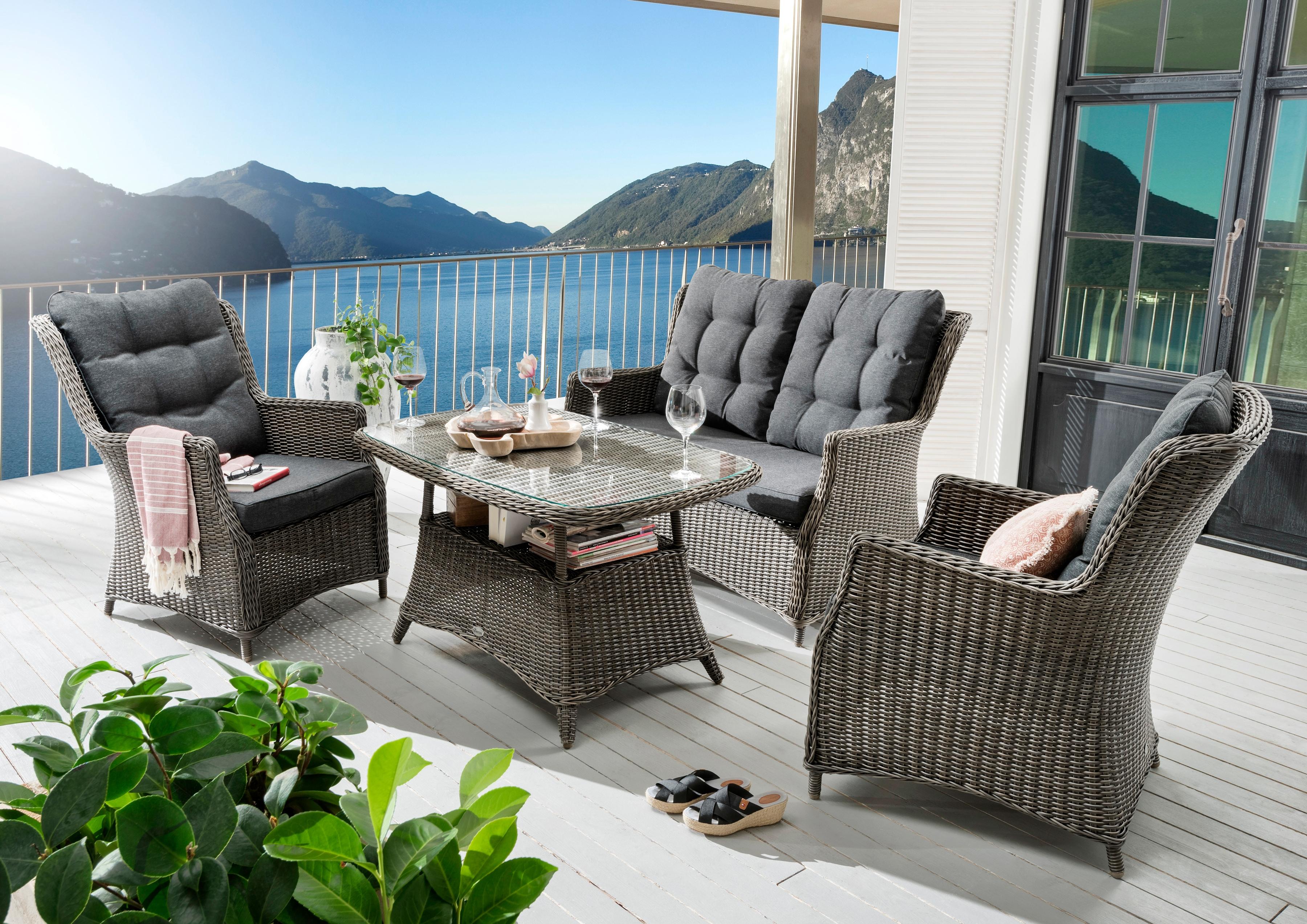 DESTINY Gartenmöbelset Casa 11-tlg 2 Sessel 2er-Sofa Tisch 120x75 cm Polyrattan