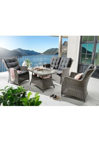 DESTINY Gartenmöbelset »Casa«, 11 - tlg., 2 Sessel, 2er - Sofa, Tisch 120x75 cm, Polyrattan kaufen