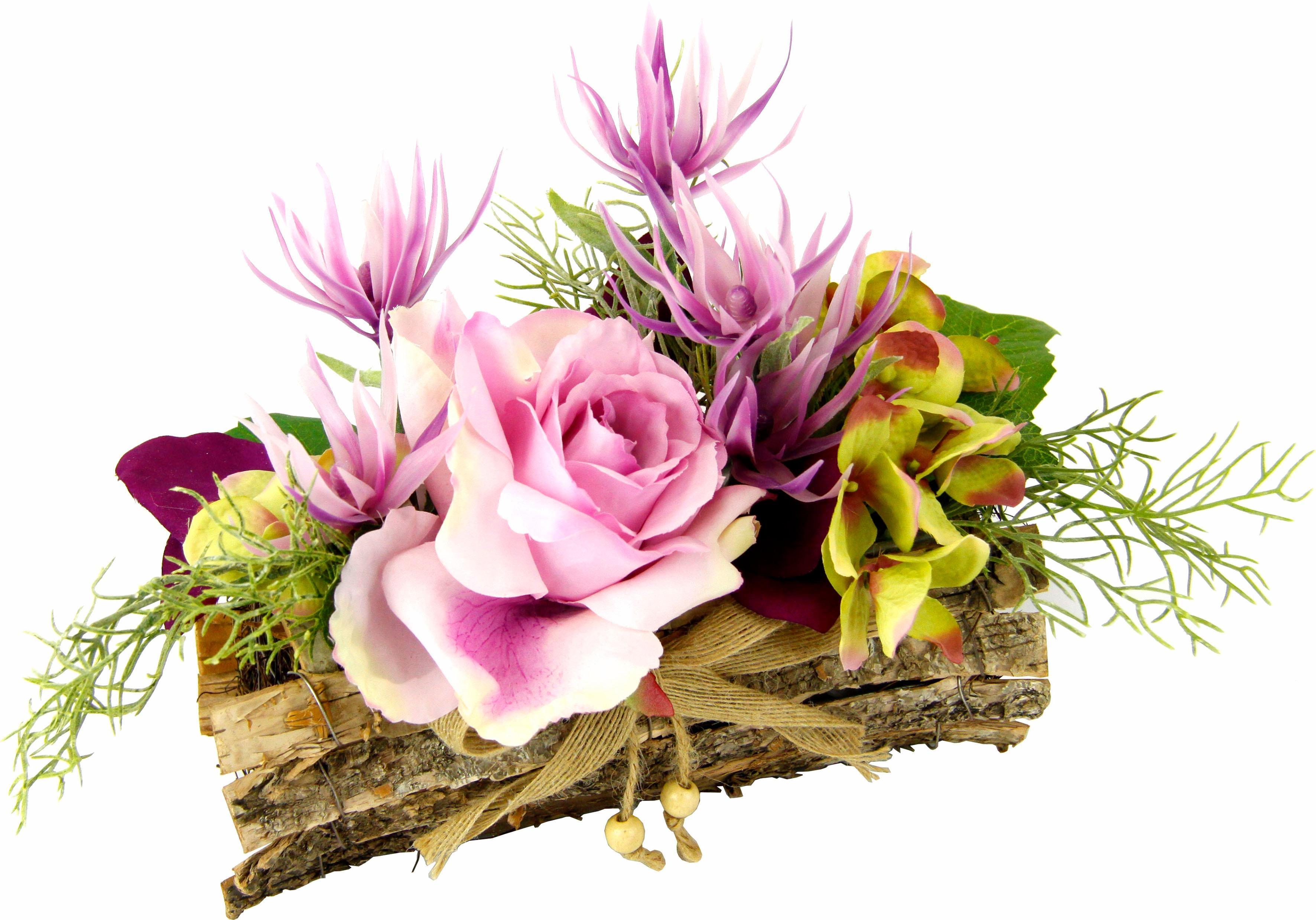 Kunstpflanze Gesteck Rose in Schale, lila