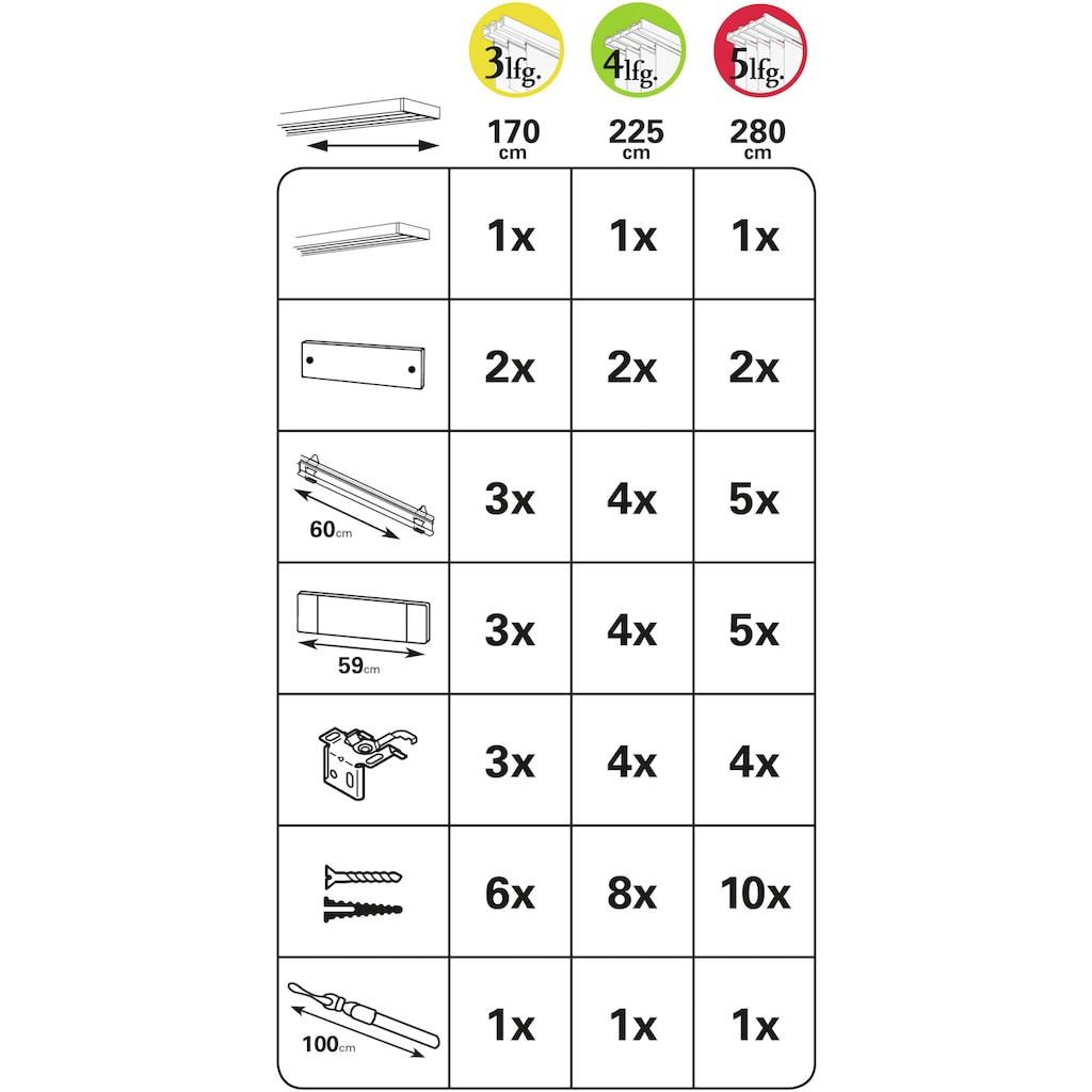 GARDINIA Flächenvorhangschiene »Flächenvorhangschiene Komfort Komplett-Set 3-läufig«
