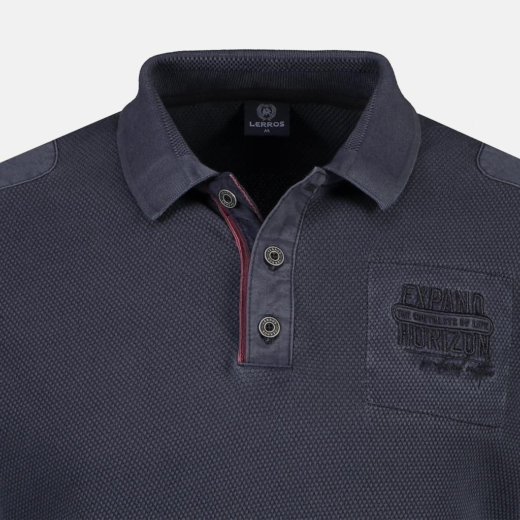 LERROS Langarm-Poloshirt, mit sportiver Ärmeltasche