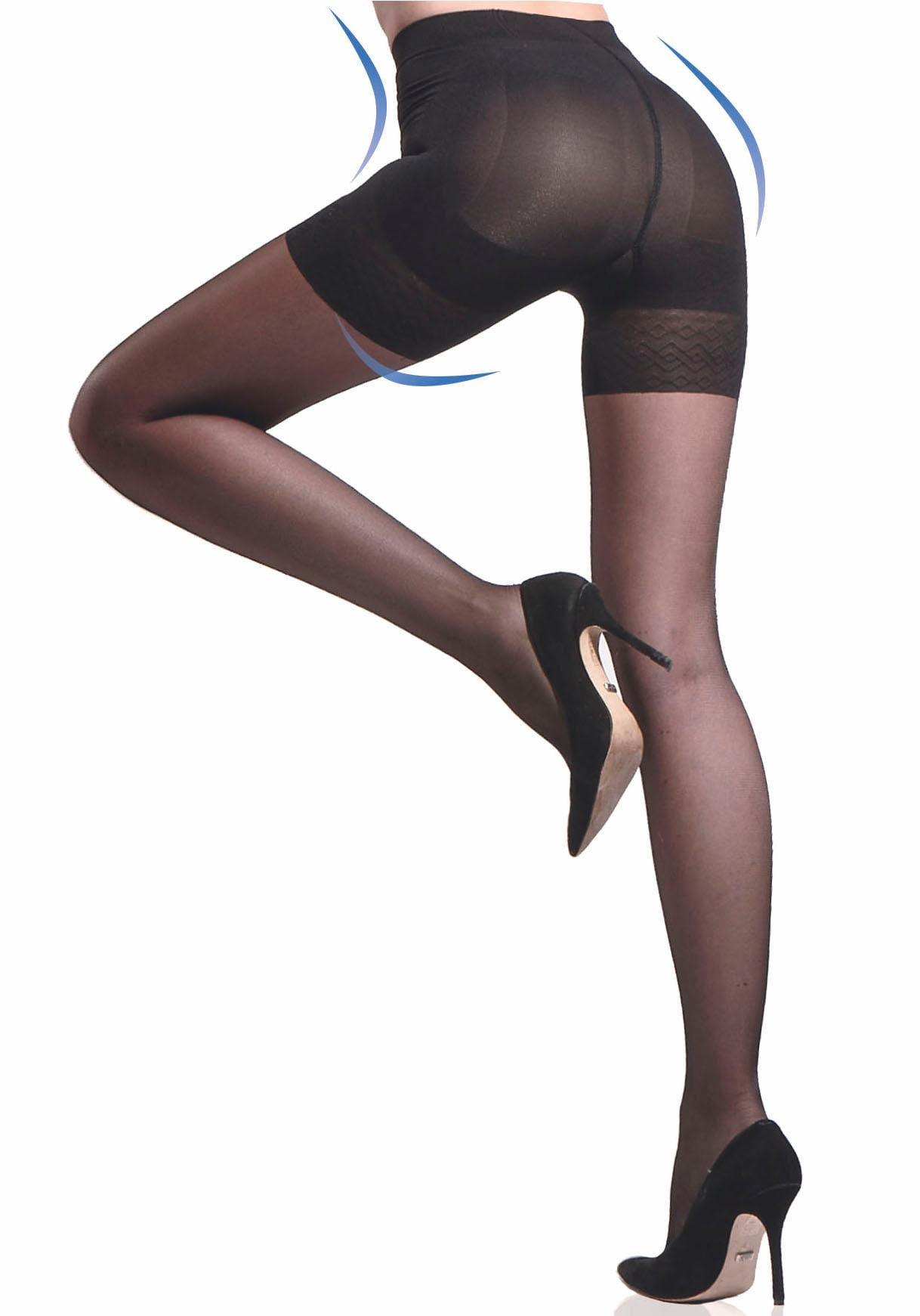 disée Stützstrumpfhose, 20 DEN, (Packung, 2 St.), mit dreifachem Shaping-Effekt schwarz Damen Stützstrumpfhosen Strumpfhosen Stützstrumpfhose