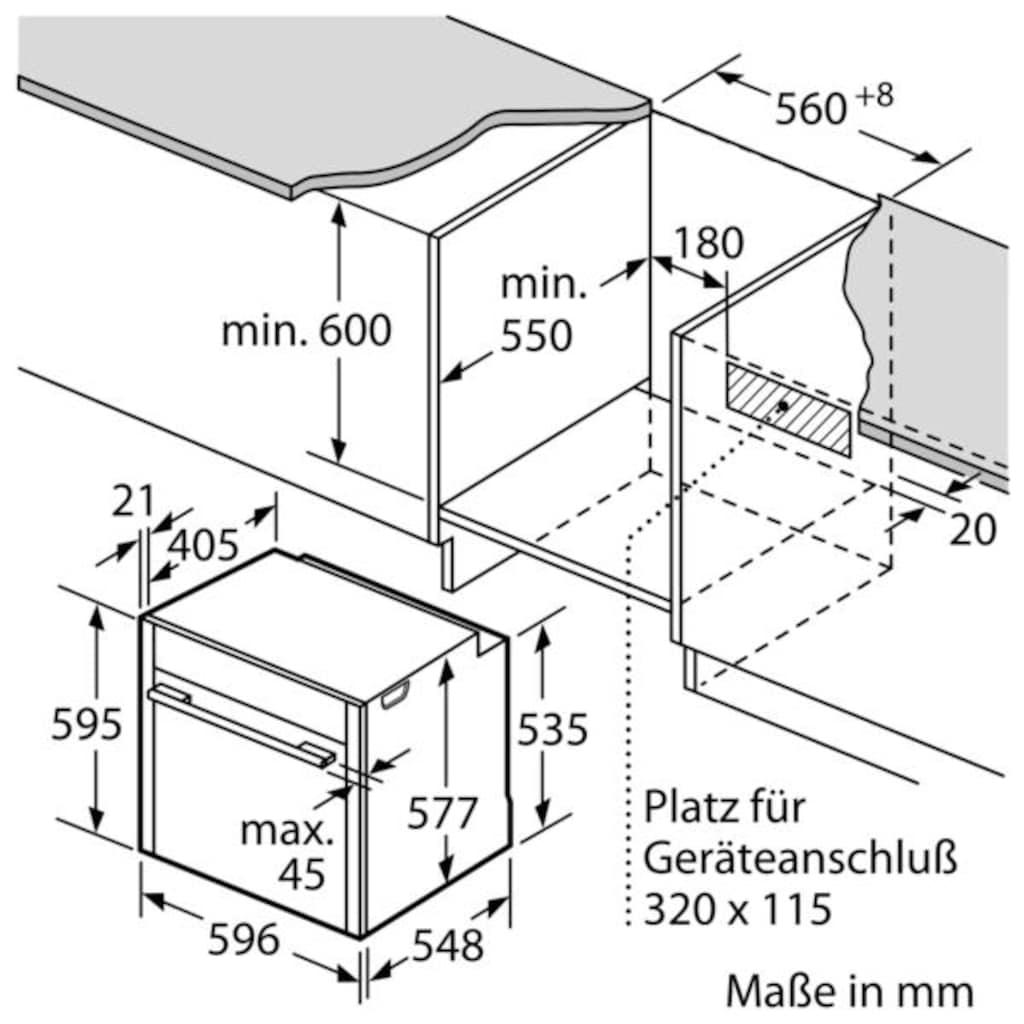 NEFF Pyrolyse Backofen »B55CR20N0«, N 70, B55CR20N0, mit Teleskopauszug nachrüstbar, Pyrolyse-Selbstreinigung, mit Slide&Hide®