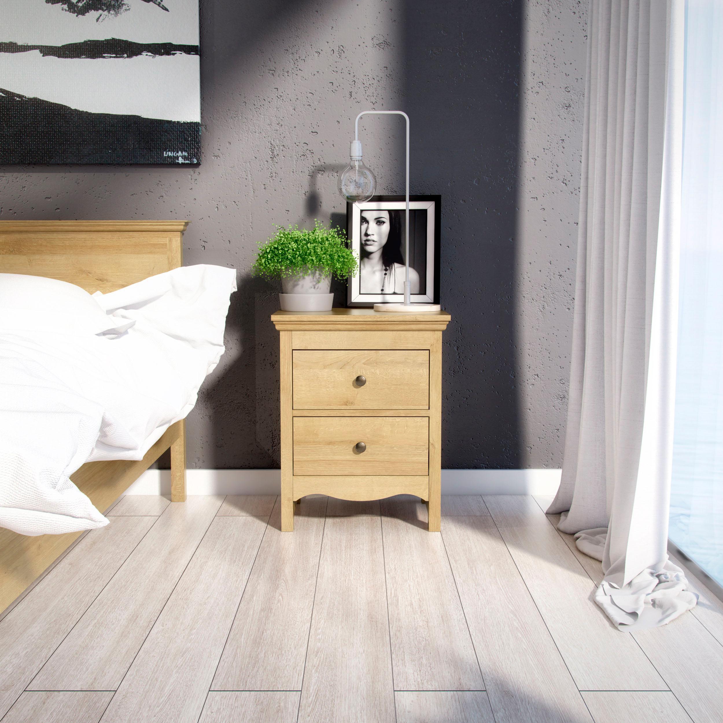 Home affaire Nachttisch Silkeborg aus foliertem Holzwerkstoff mit Eichenholz Optik mit Metallgriffen Breite 58 cm